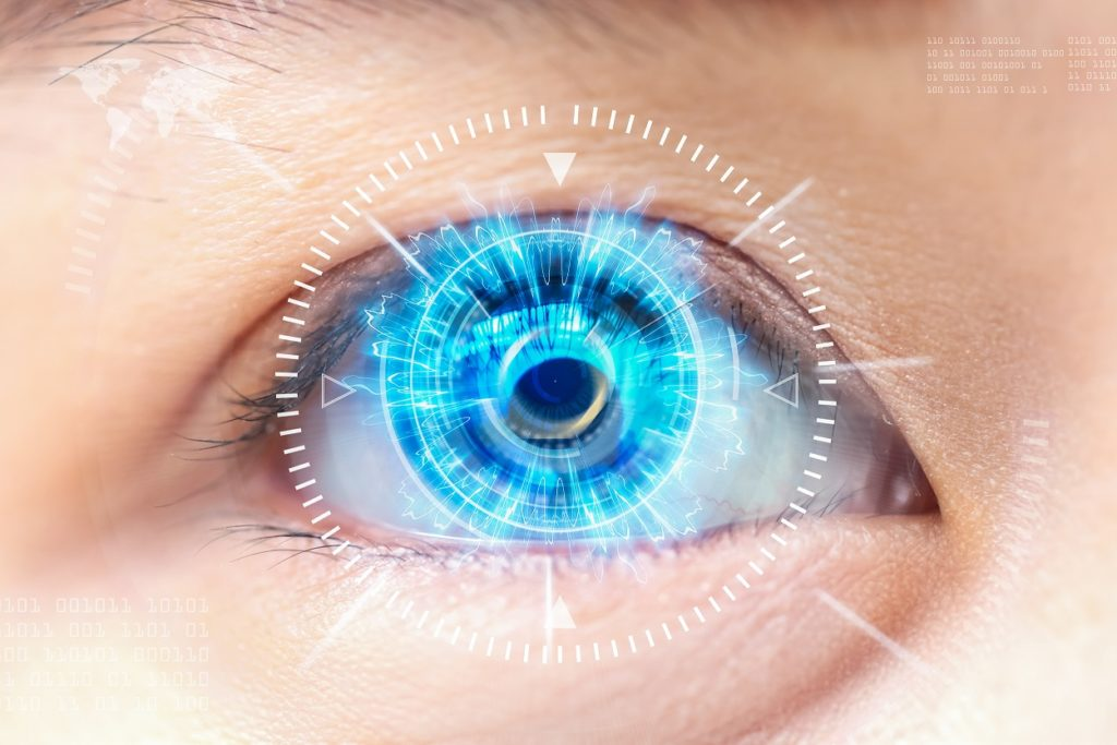 close up of brilliant blue eye super imposed with Lasik surgery measurements